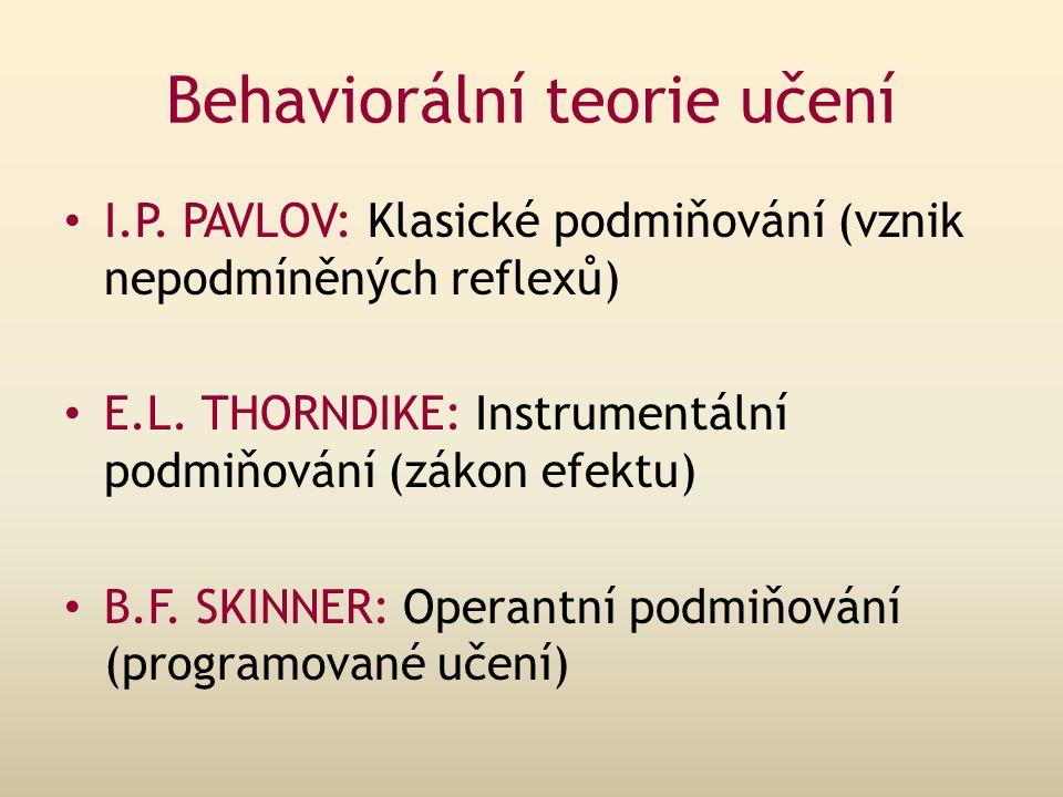 Behaviorální teorie učení I.P.PAVLOV: Klasické podmiňování (vznik nepodmíněných reflexů) E.L.