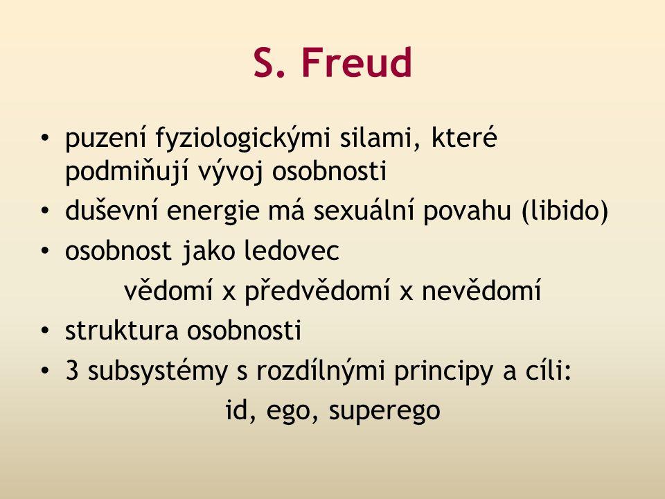 S. Freud puzení fyziologickými silami, které podmiňují vývoj osobnosti duševní energie má sexuální povahu (libido) osobnost jako ledovec vědomí x před