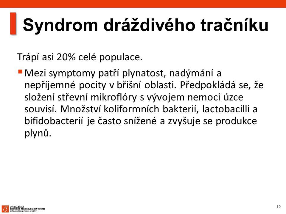 12 Syndrom dráždivého tračníku Trápí asi 20% celé populace.  Mezi symptomy patří plynatost, nadýmání a nepříjemné pocity v břišní oblasti. Předpoklád