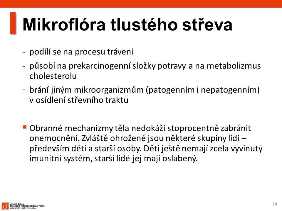 20 Mikroflóra tlustého střeva - podílí se na procesu trávení - působí na prekarcinogenní složky potravy a na metabolizmus cholesterolu - brání jiným m