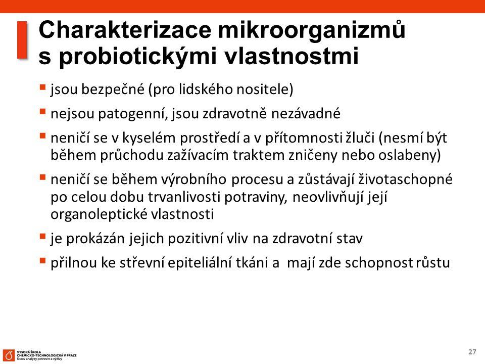 27 Charakterizace mikroorganizmů s probiotickými vlastnostmi  jsou bezpečné (pro lidského nositele)  nejsou patogenní, jsou zdravotně nezávadné  ne