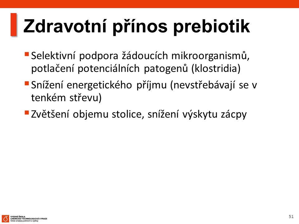 51 Zdravotní přínos prebiotik  Selektivní podpora žádoucích mikroorganismů, potlačení potenciálních patogenů (klostridia)  Snížení energetického pří