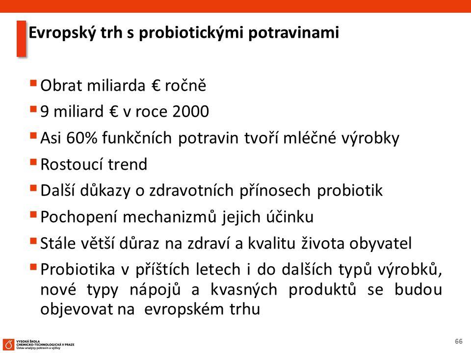 66 Evropský trh s probiotickými potravinami  Obrat miliarda € ročně  9 miliard € v roce 2000  Asi 60% funkčních potravin tvoří mléčné výrobky  Ros