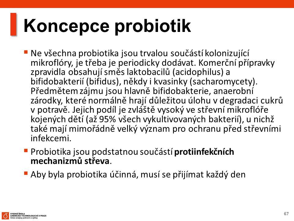 67 Koncepce probiotik  Ne všechna probiotika jsou trvalou součástí kolonizující mikroflóry, je třeba je periodicky dodávat. Komerční přípravky zpravi