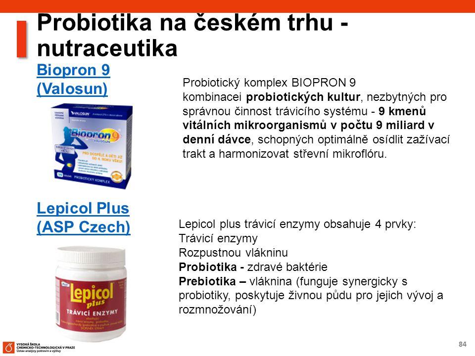 84 Probiotika na českém trhu - nutraceutika Biopron 9 (Valosun) Probiotický komplex BIOPRON 9 kombinacei probiotických kultur, nezbytných pro správnou