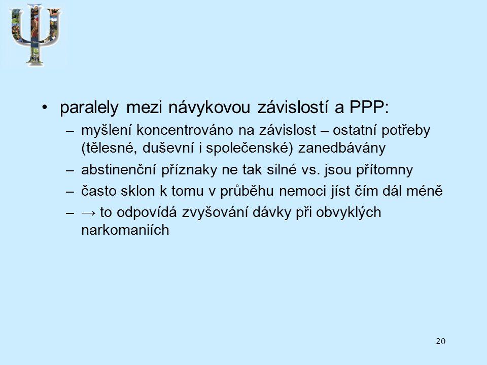 paralely mezi návykovou závislostí a PPP: –myšlení koncentrováno na závislost – ostatní potřeby (tělesné, duševní i společenské) zanedbávány –abstinenční příznaky ne tak silné vs.