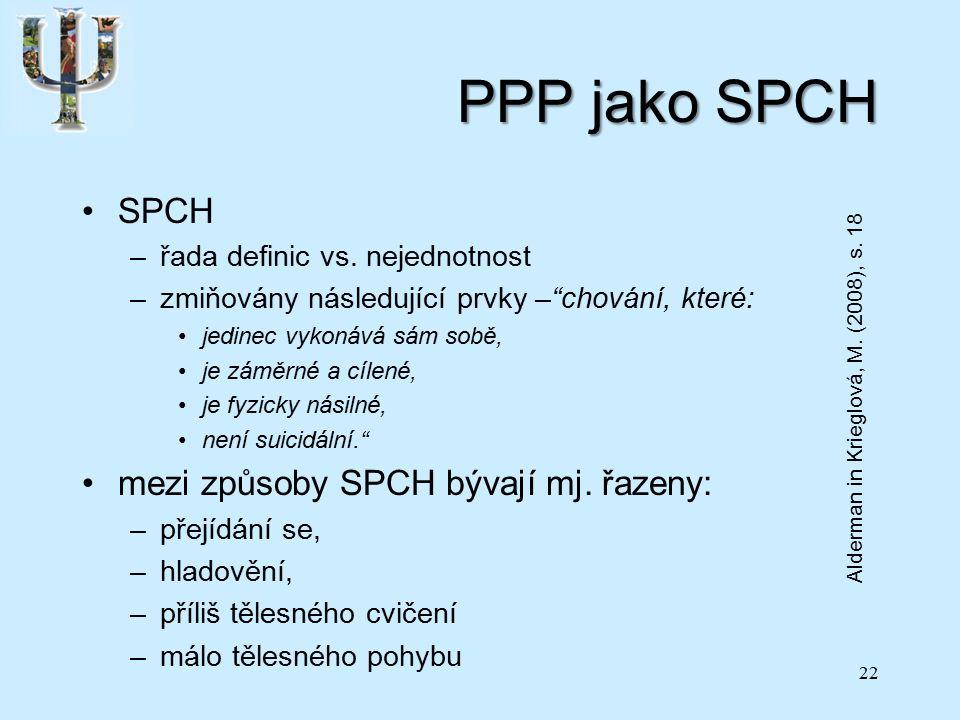 PPP jako SPCH SPCH –řada definic vs.