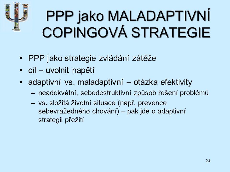 PPP jako MALADAPTIVNÍ COPINGOVÁ STRATEGIE PPP jako strategie zvládání zátěže cíl – uvolnit napětí adaptivní vs.