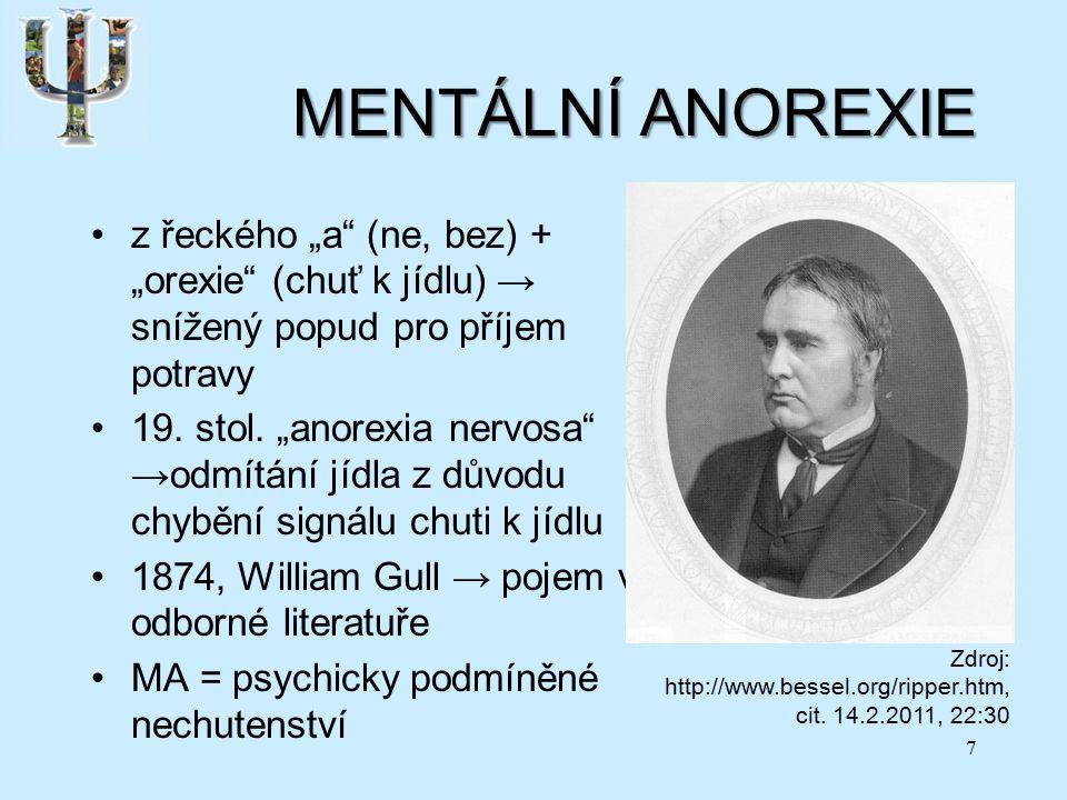 """MENTÁLNÍ ANOREXIE z řeckého """"a (ne, bez) + """"orexie (chuť k jídlu) → snížený popud pro příjem potravy 19."""