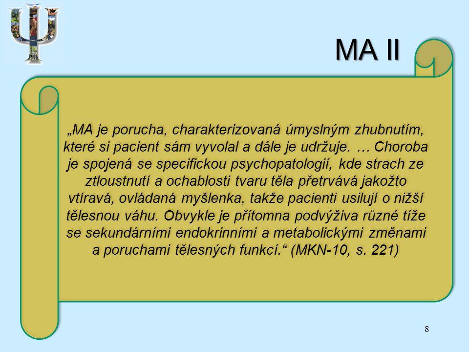 """MA II 8 """"MA je porucha, charakterizovaná úmyslným zhubnutím, které si pacient sám vyvolal a dále je udržuje."""
