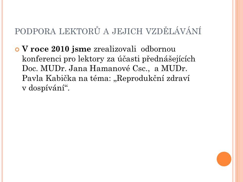 PODPORA LEKTORŮ A JEJICH VZDĚLÁVÁNÍ V roce 2010 jsme zrealizovali odbornou konferenci pro lektory za účasti přednášejících Doc.