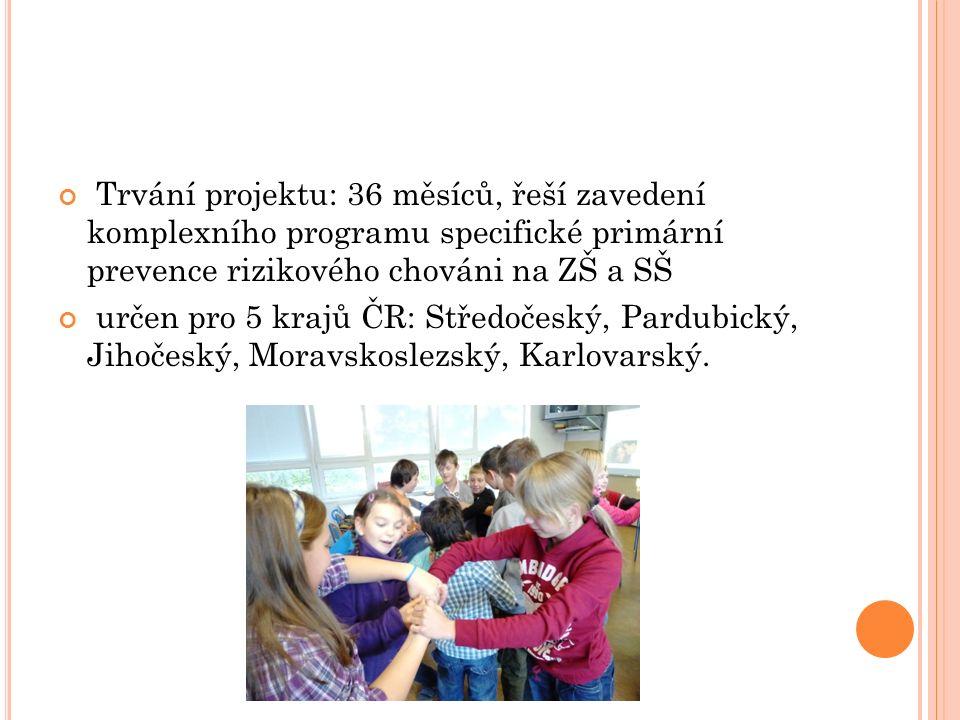 Trvání projektu: 36 měsíců, řeší zavedení komplexního programu specifické primární prevence rizikového chováni na ZŠ a SŠ určen pro 5 krajů ČR: Středočeský, Pardubický, Jihočeský, Moravskoslezský, Karlovarský.