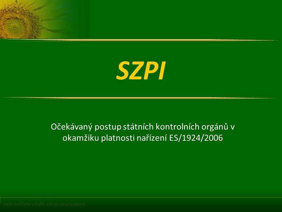 Sem můžete vložit název prezentace. SZPI Očekávaný postup státních kontrolních orgánů v okamžiku platnosti nařízení ES/1924/2006