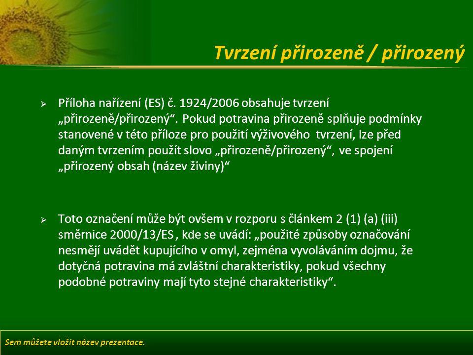 Sem můžete vložit název prezentace. Tvrzení přirozeně / přirozený  Příloha nařízení (ES) č.