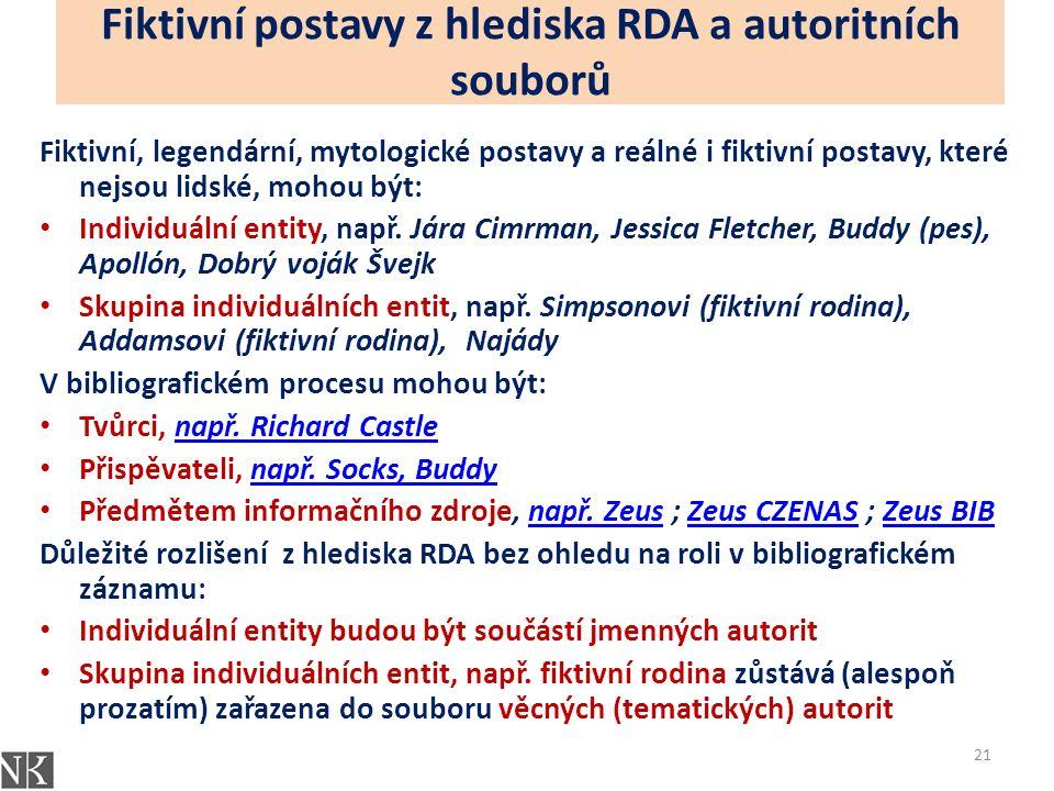 Fiktivní postavy z hlediska RDA a autoritních souborů Fiktivní, legendární, mytologické postavy a reálné i fiktivní postavy, které nejsou lidské, mohou být: Individuální entity, např.