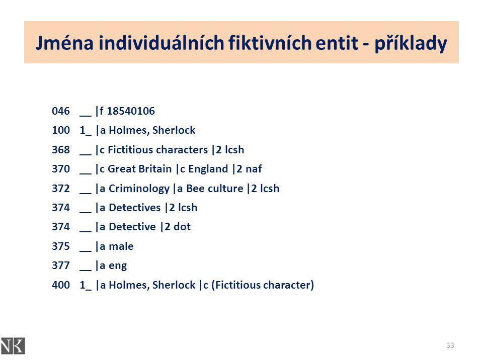 Jména individuálních fiktivních entit - příklady 33 046__ |f 18540106 1001_ |a Holmes, Sherlock 368__ |c Fictitious characters |2 lcsh 370__ |c Great Britain |c England |2 naf 372__ |a Criminology |a Bee culture |2 lcsh 374__ |a Detectives |2 lcsh 374__ |a Detective |2 dot 375__ |a male 377__ |a eng 4001_ |a Holmes, Sherlock |c (Fictitious character)