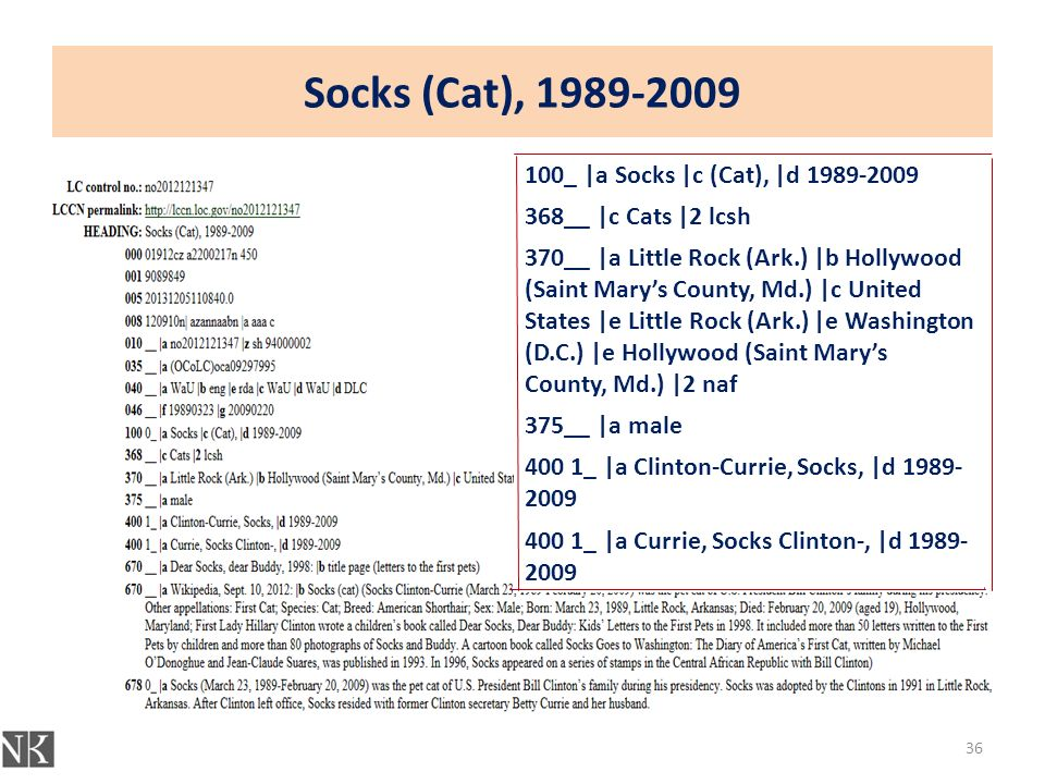 Socks (Cat), 1989-2009 36 100_ |a Socks |c (Cat), |d 1989-2009 368__ |c Cats |2 lcsh 370__ |a Little Rock (Ark.) |b Hollywood (Saint Mary's County, Md.) |c United States |e Little Rock (Ark.) |e Washington (D.C.) |e Hollywood (Saint Mary's County, Md.) |2 naf 375__ |a male 400 1_ |a Clinton-Currie, Socks, |d 1989- 2009 400 1_ |a Currie, Socks Clinton-, |d 1989- 2009