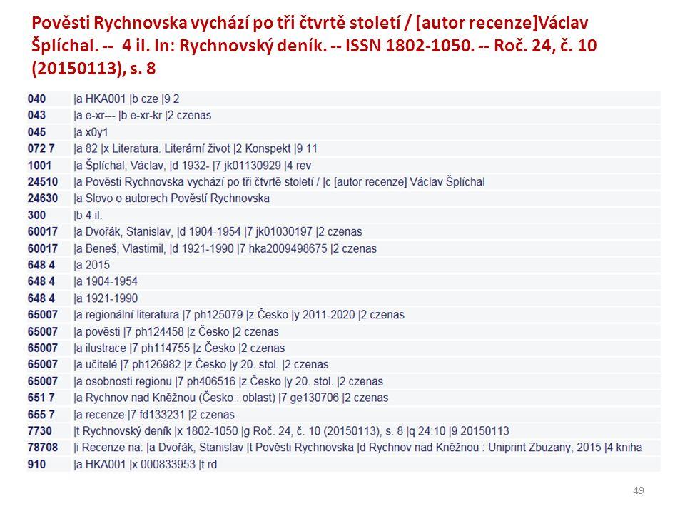 Pověsti Rychnovska vychází po tři čtvrtě století / [autor recenze]Václav Šplíchal.