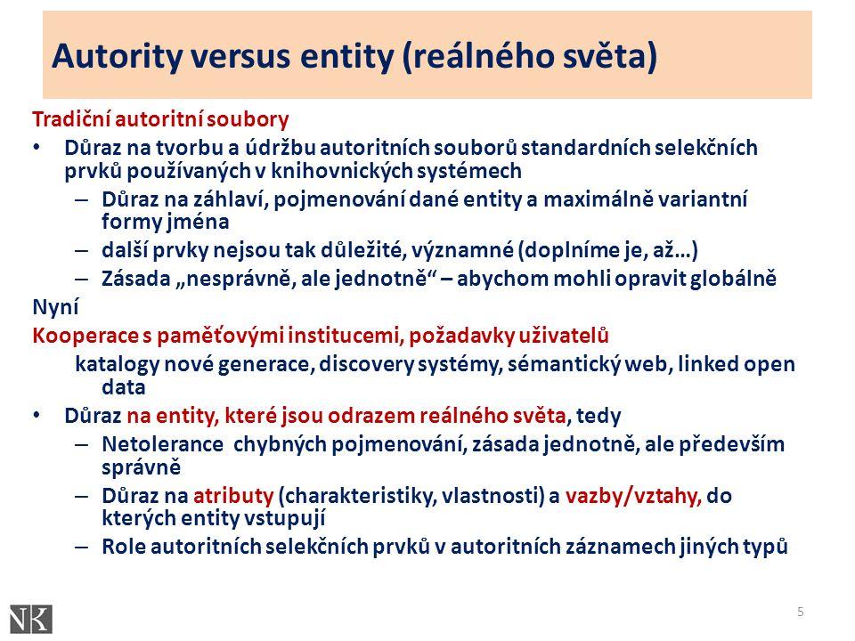 """Autority versus entity (reálného světa) Tradiční autoritní soubory Důraz na tvorbu a údržbu autoritních souborů standardních selekčních prvků používaných v knihovnických systémech – Důraz na záhlaví, pojmenování dané entity a maximálně variantní formy jména – další prvky nejsou tak důležité, významné (doplníme je, až…) – Zásada """"nesprávně, ale jednotně – abychom mohli opravit globálně Nyní Kooperace s paměťovými institucemi, požadavky uživatelů katalogy nové generace, discovery systémy, sémantický web, linked open data Důraz na entity, které jsou odrazem reálného světa, tedy – Netolerance chybných pojmenování, zásada jednotně, ale především správně – Důraz na atributy (charakteristiky, vlastnosti) a vazby/vztahy, do kterých entity vstupují – Role autoritních selekčních prvků v autoritních záznamech jiných typů 5"""