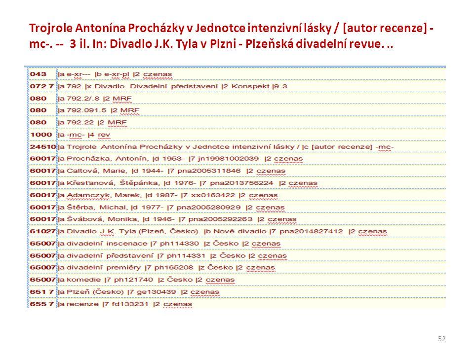 Trojrole Antonína Procházky v Jednotce intenzivní lásky / [autor recenze] - mc-.