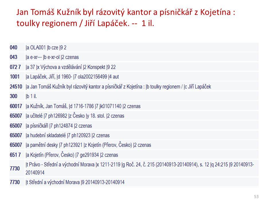Jan Tomáš Kužník byl rázovitý kantor a písničkář z Kojetína : toulky regionem / Jiří Lapáček.