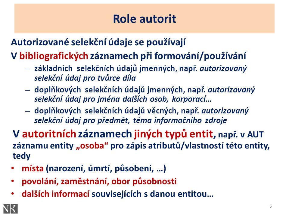 Role autorit Autorizované selekční údaje se používají V bibliografických záznamech při formování/používání – základních selekčních údajů jmenných, např.