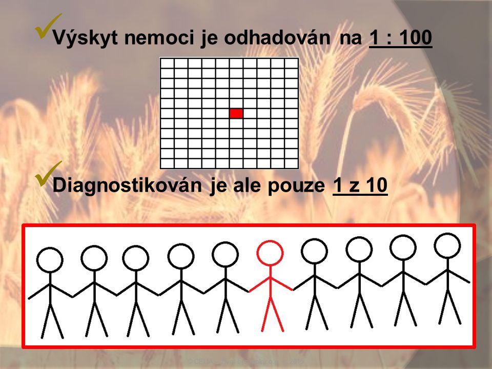 Výskyt nemoci je odhadován na 1 : 100 Diagnostikován je ale pouze 1 z 10 © CELIA – život bez lepku o.p. s. 2015