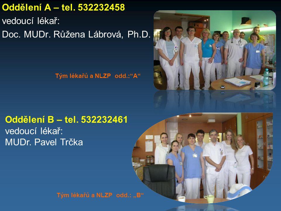 """Oddělení A – tel. 532232458 vedoucí lékař: Doc. MUDr. Růžena Lábrová, Ph.D. Tým lékařů a NLZP odd.:""""A"""" Oddělení B – tel. 532232461 vedoucí lékař: MUDr"""