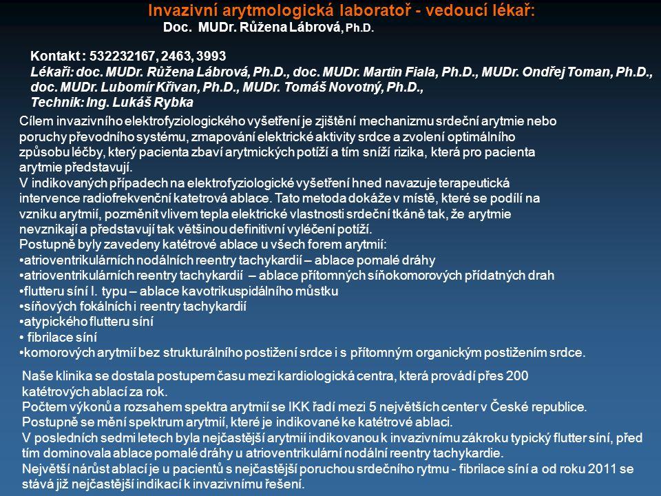 Invazivní arytmologická laboratoř - vedoucí lékař: Doc. MUDr. Růžena Lábrová, Ph.D. Kontakt : 532232167, 2463, 3993 Lékaři: doc. MUDr. Růžena Lábrová,