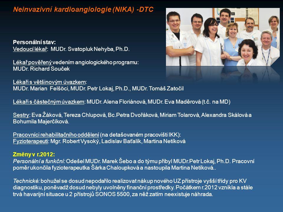 Neinvazivní kardioangiologie (NIKA) -DTC Personální stav: Vedoucí lékař: MUDr. Svatopluk Nehyba, Ph.D. Lékař pověřený vedením angiologického programu: