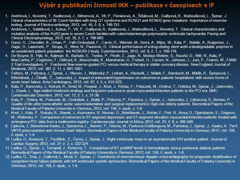 Výběr z publikační činnosti IKK – publikace v časopisech s IF 1.Andršová, I., Novotný, T., Kadlecová, J., Bittnerová, A., Vít, P., Floriánová, A., Šiš