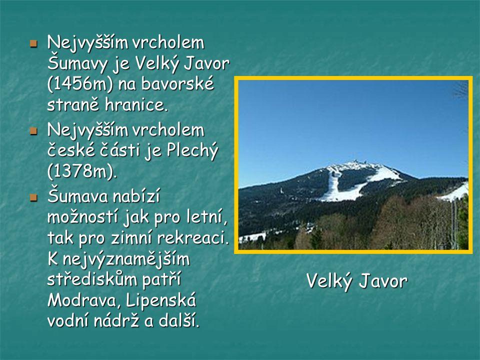 Nejvyšším vrcholem Šumavy je Velký Javor (1456m) na bavorské straně hranice. Nejvyšším vrcholem české části je Plechý (1378m). Šumava nabízí možností