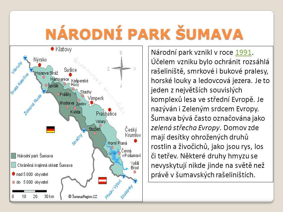 Černé jezeroBoubínský prales. Nejvyšší hora Plechý Čertova stěna + tok řeky Vltavy