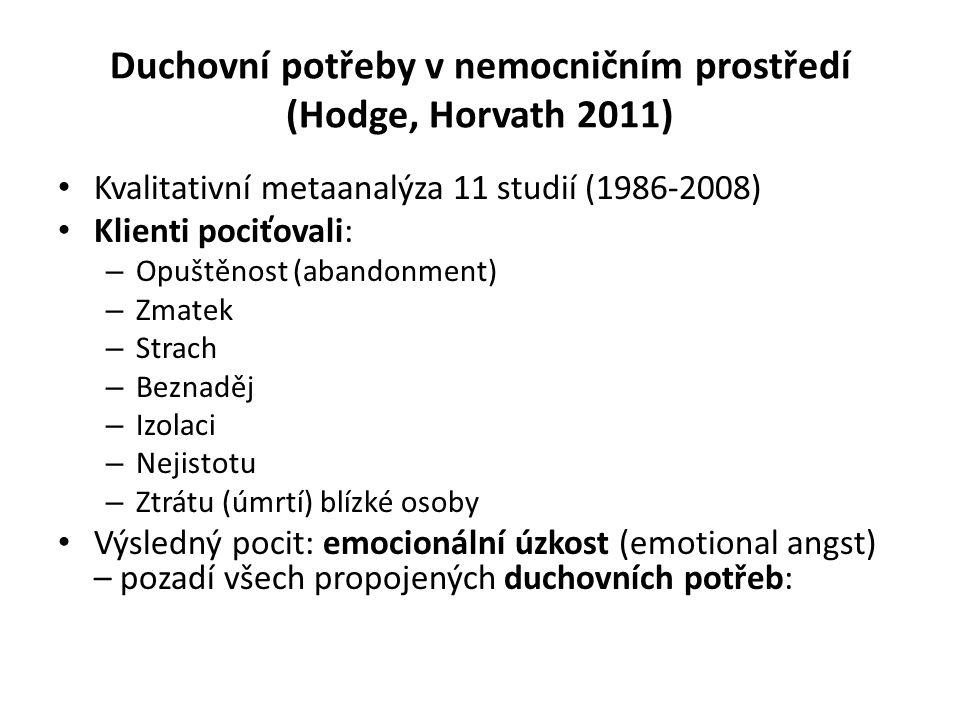 Duchovní potřeby v nemocničním prostředí (Hodge, Horvath 2011) Kvalitativní metaanalýza 11 studií (1986-2008) Klienti pociťovali: – Opuštěnost (abandonment) – Zmatek – Strach – Beznaděj – Izolaci – Nejistotu – Ztrátu (úmrtí) blízké osoby Výsledný pocit: emocionální úzkost (emotional angst) – pozadí všech propojených duchovních potřeb: