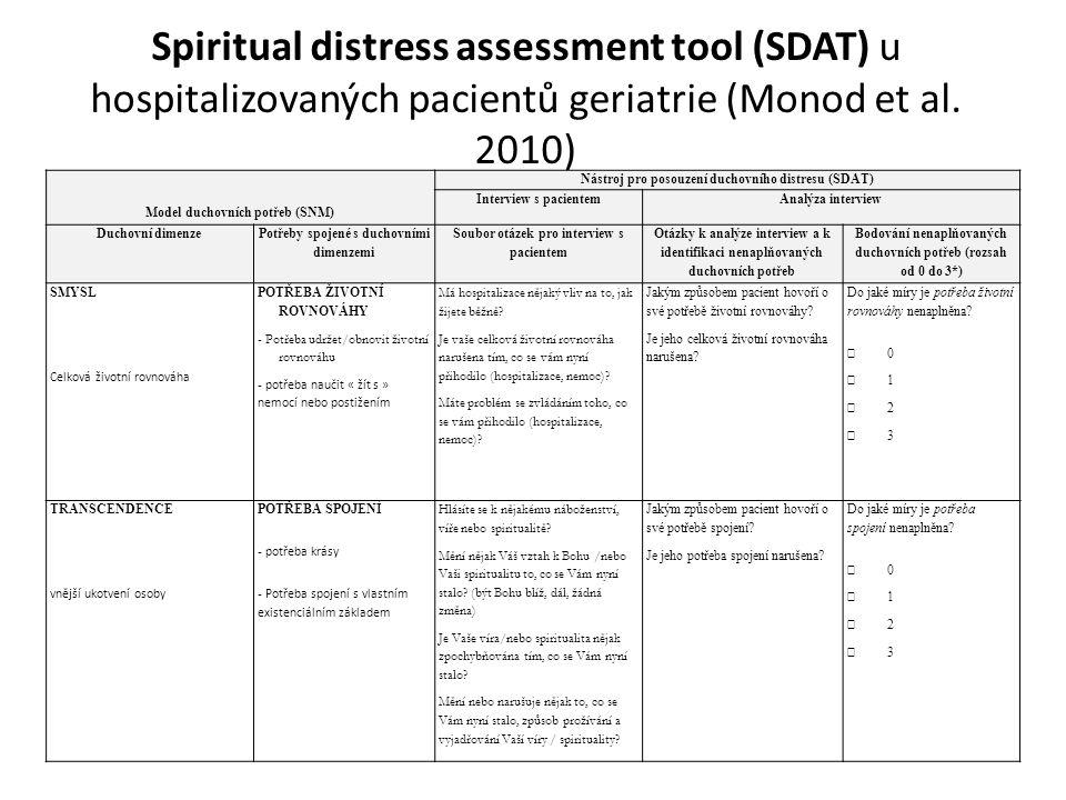 Spiritual distress assessment tool (SDAT) u hospitalizovaných pacientů geriatrie (Monod et al. 2010) Model duchovních potřeb (SNM) Nástroj pro posouze