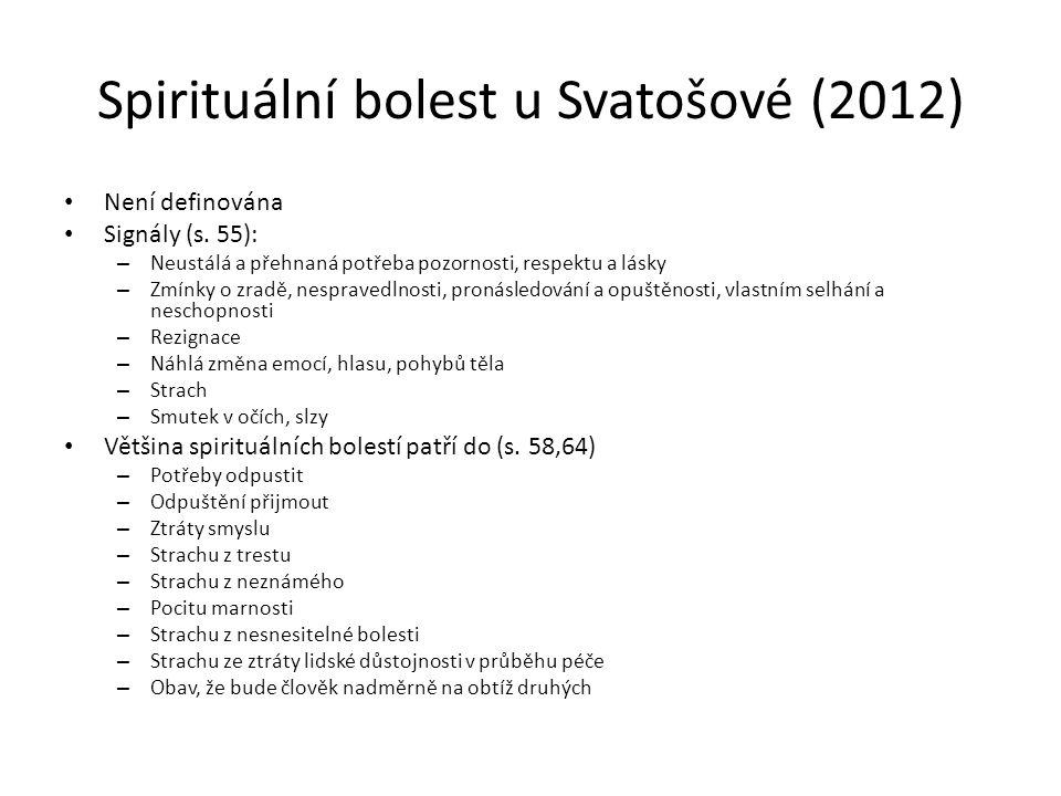 Spirituální bolest u Svatošové (2012) Není definována Signály (s.