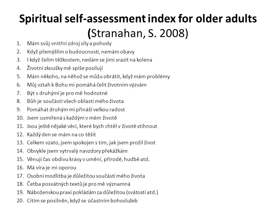 Spiritual self-assessment index for older adults (Stranahan, S.