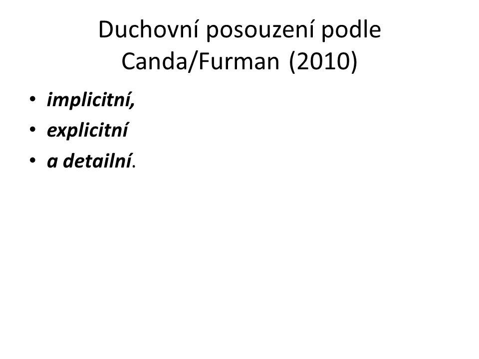 Duchovní posouzení podle Canda/Furman (2010) implicitní, explicitní a detailní.