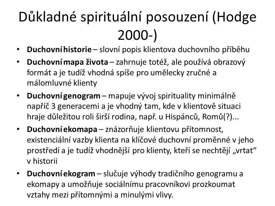 Důkladné spirituální posouzení (Hodge 2000-) Duchovní historie – slovní popis klientova duchovního příběhu Duchovní mapa života – zahrnuje totéž, ale používá obrazový formát a je tudíž vhodná spíše pro umělecky zručné a málomluvné klienty Duchovní genogram – mapuje vývoj spirituality minimálně napříč 3 generacemi a je vhodný tam, kde v klientově situaci hraje důležitou roli širší rodina, např.