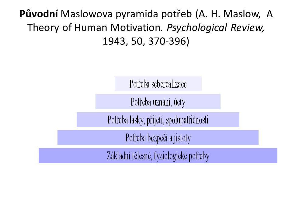 Původní Maslowova pyramida potřeb (A. H. Maslow, A Theory of Human Motivation. Psychological Review, 1943, 50, 370-396)