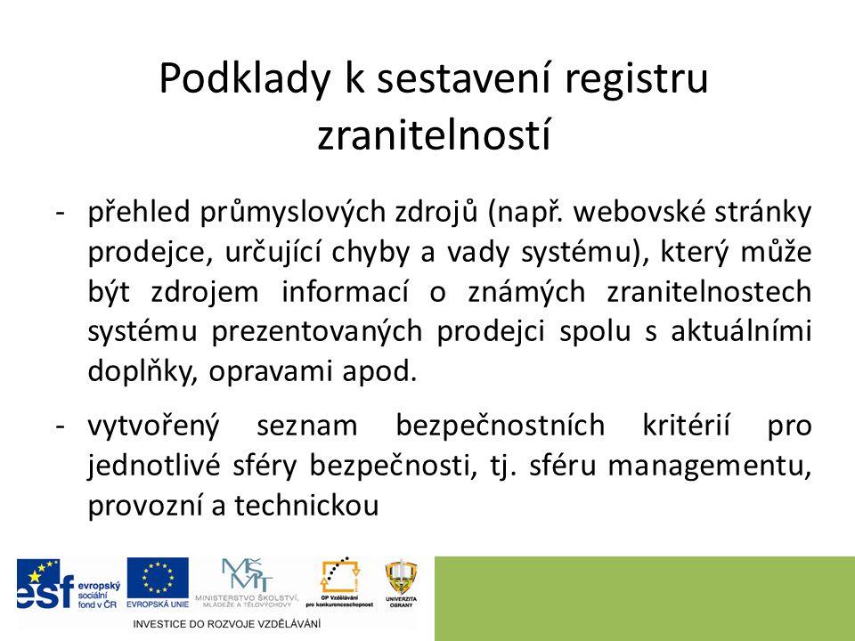 Podklady k sestavení registru zranitelností -přehled průmyslových zdrojů (např.