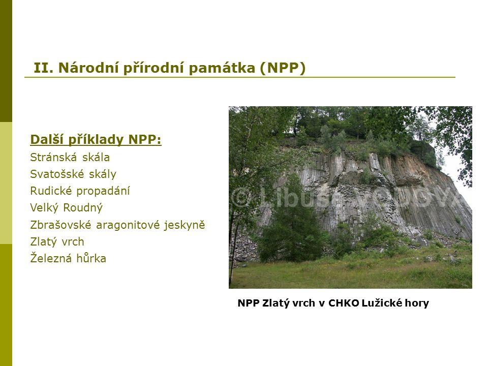 II. Národní přírodní památka (NPP) Další příklady NPP: Stránská skála Svatošské skály Rudické propadání Velký Roudný Zbrašovské aragonitové jeskyně Zl
