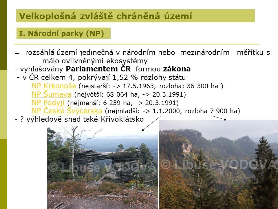 Zdroj: http://upload.wikimedia.org/wikipedia/commons/e/ee/CHKO%2BNP_Czech_map.pnghttp://upload.wikimedia.org/wikipedia/commons/e/ee/CHKO%2BNP_Czech_map.png Přehled velkoplošných zvláště chráněných území ČR