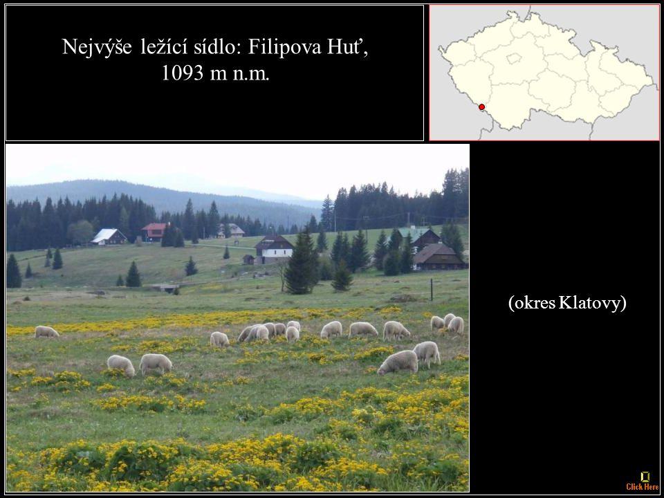 Nejvýše ležící obec: Kvilda, 1062 m n. m. (okres Prachatice)
