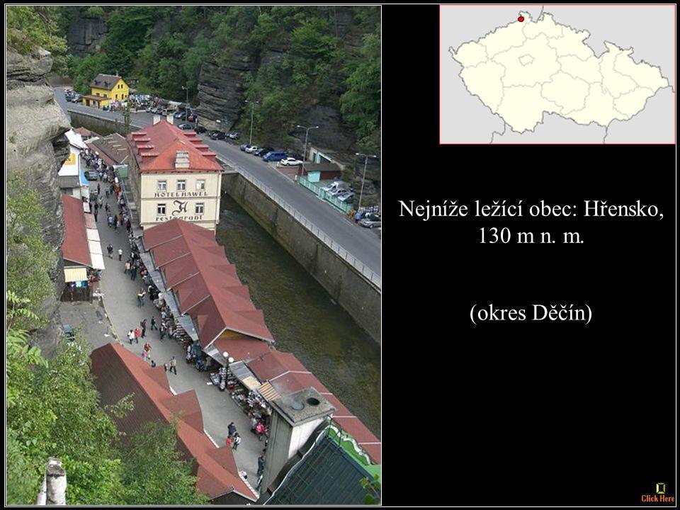 Nejvýše ležící sídlo: Filipova Huť, 1093 m n.m. (okres Klatovy)
