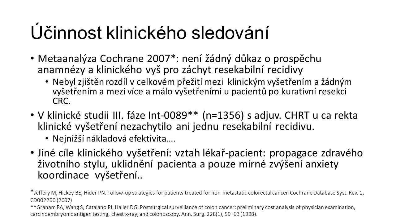 Účinnost klinického sledování Metaanalýza Cochrane 2007*: není žádný důkaz o prospěchu anamnézy a klinického vyš pro záchyt resekabilní recidivy Nebyl zjištěn rozdíl v celkovém přežití mezi klinickým vyšetřením a žádným vyšetřením a mezi více a málo vyšetřeními u pacientů po kurativní resekci CRC.