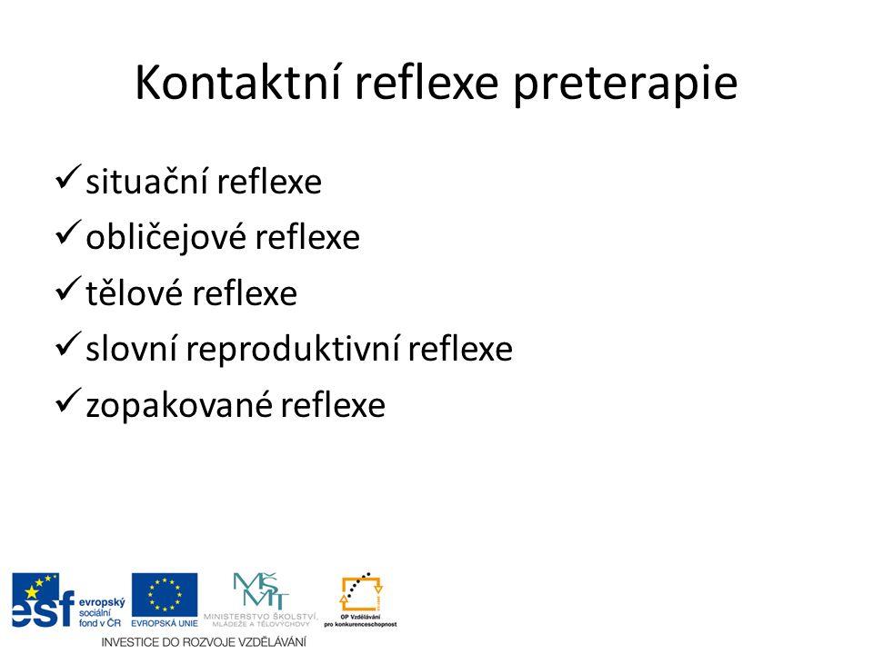 Kontaktní reflexe preterapie situační reflexe obličejové reflexe tělové reflexe slovní reproduktivní reflexe zopakované reflexe