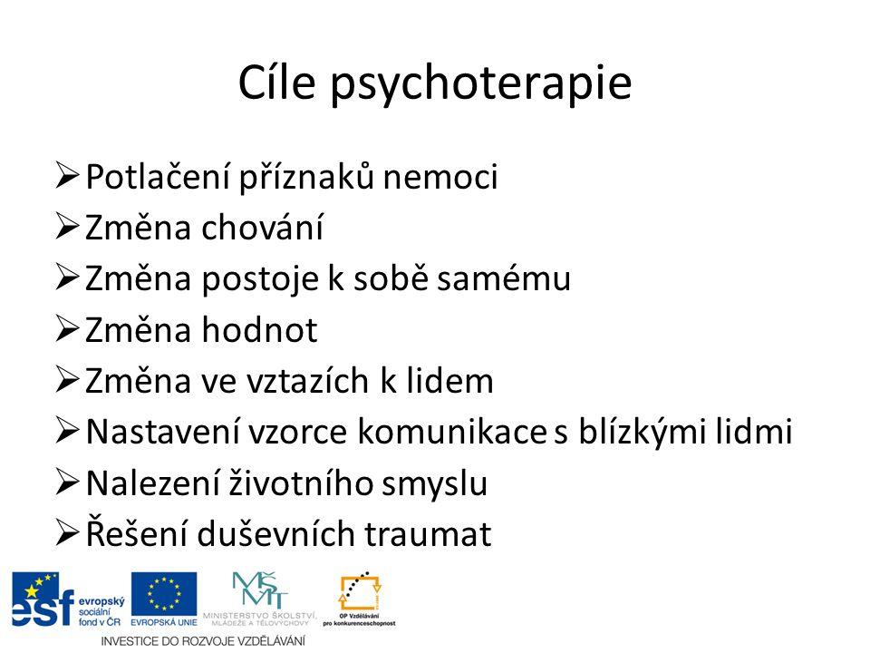 Cíle psychoterapie  Potlačení příznaků nemoci  Změna chování  Změna postoje k sobě samému  Změna hodnot  Změna ve vztazích k lidem  Nastavení vzorce komunikace s blízkými lidmi  Nalezení životního smyslu  Řešení duševních traumat