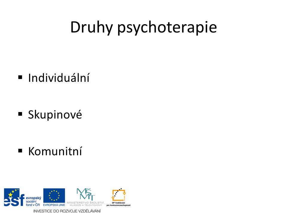 Druhy psychoterapie  Individuální  Skupinové  Komunitní