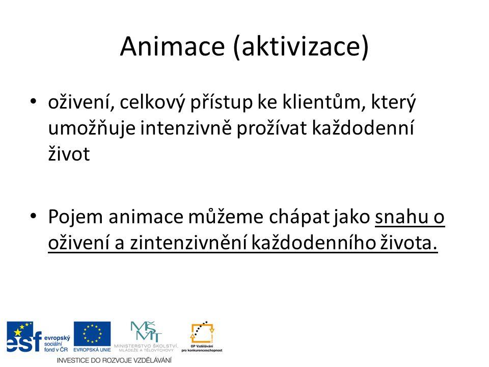 Animace (aktivizace) oživení, celkový přístup ke klientům, který umožňuje intenzivně prožívat každodenní život Pojem animace můžeme chápat jako snahu